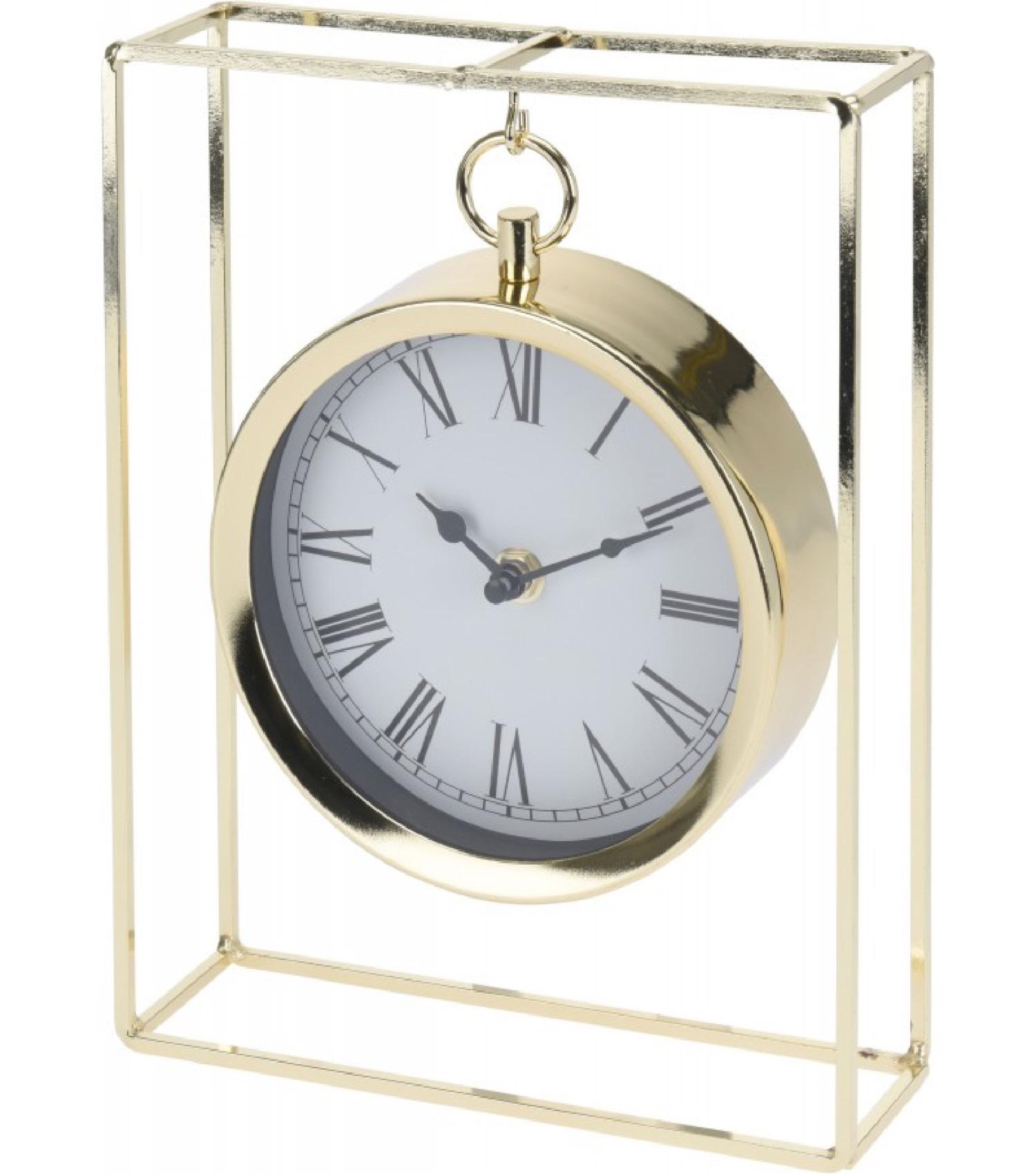 Horloge à poser suspendue en métal doré H25cm