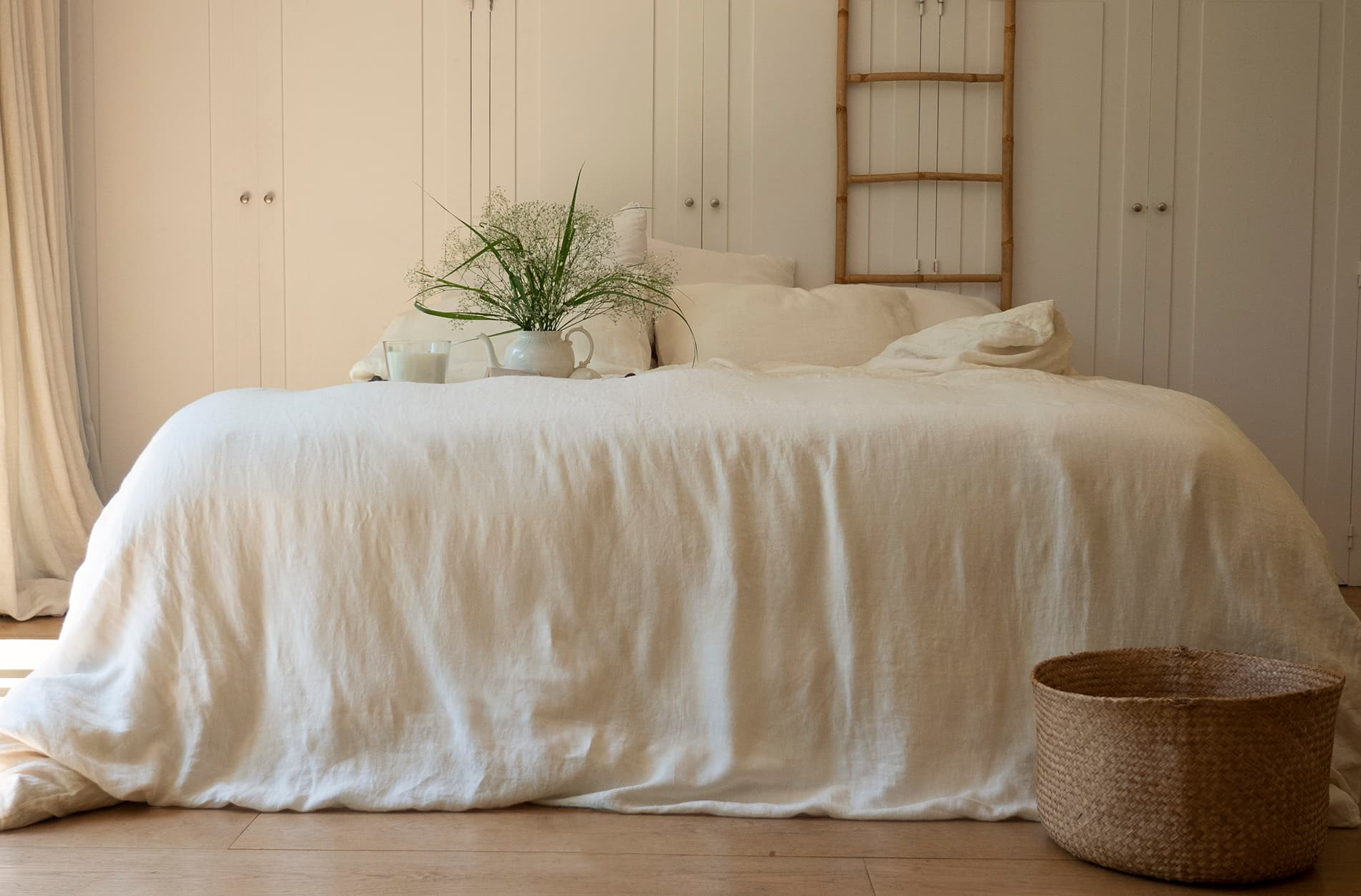 IVOIRE - Parure de lit en lin lavé ivoire 260x240 cm (photo)