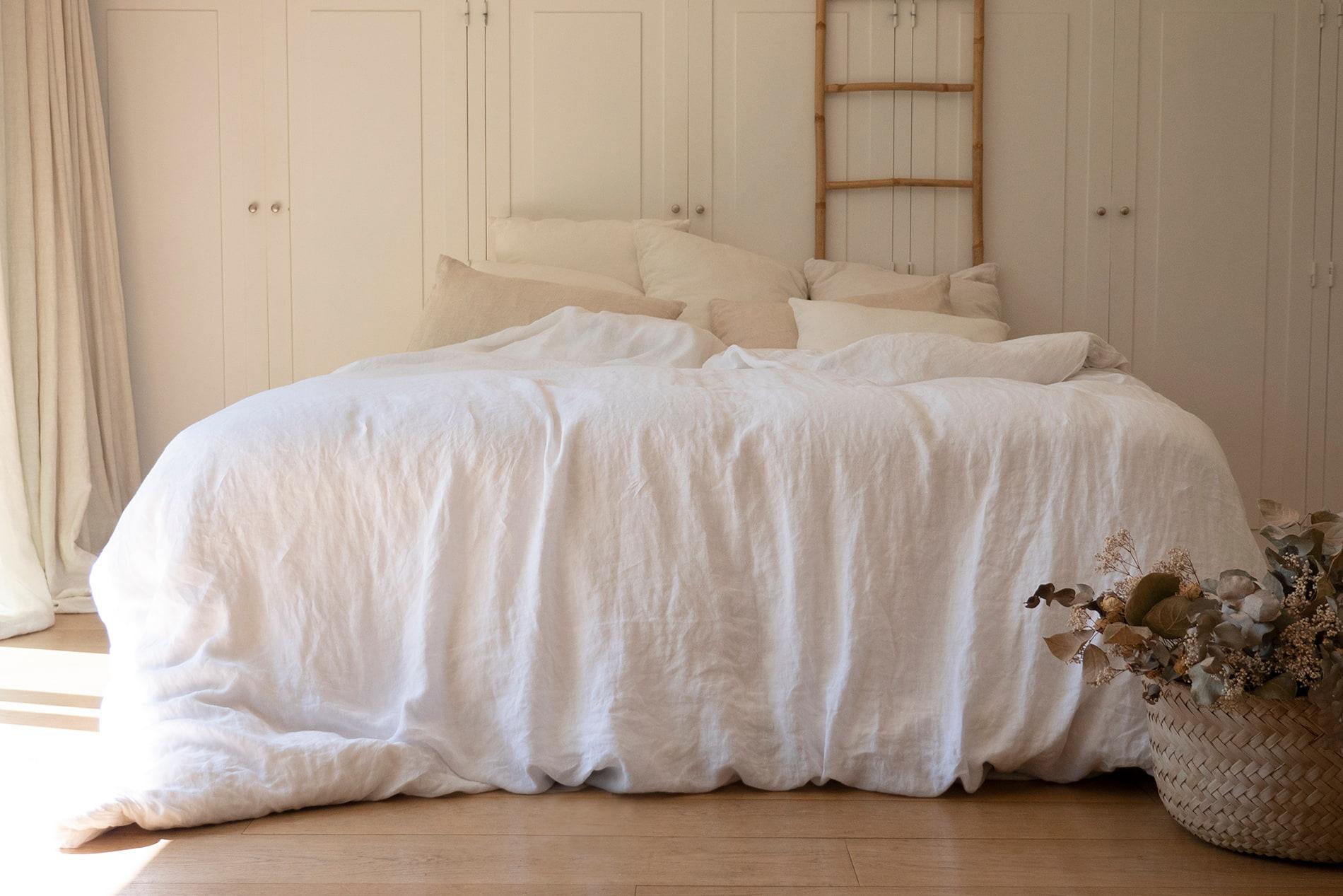 BLANC NATURE - Parure de lit en lin lavé blanc 260x240 cm