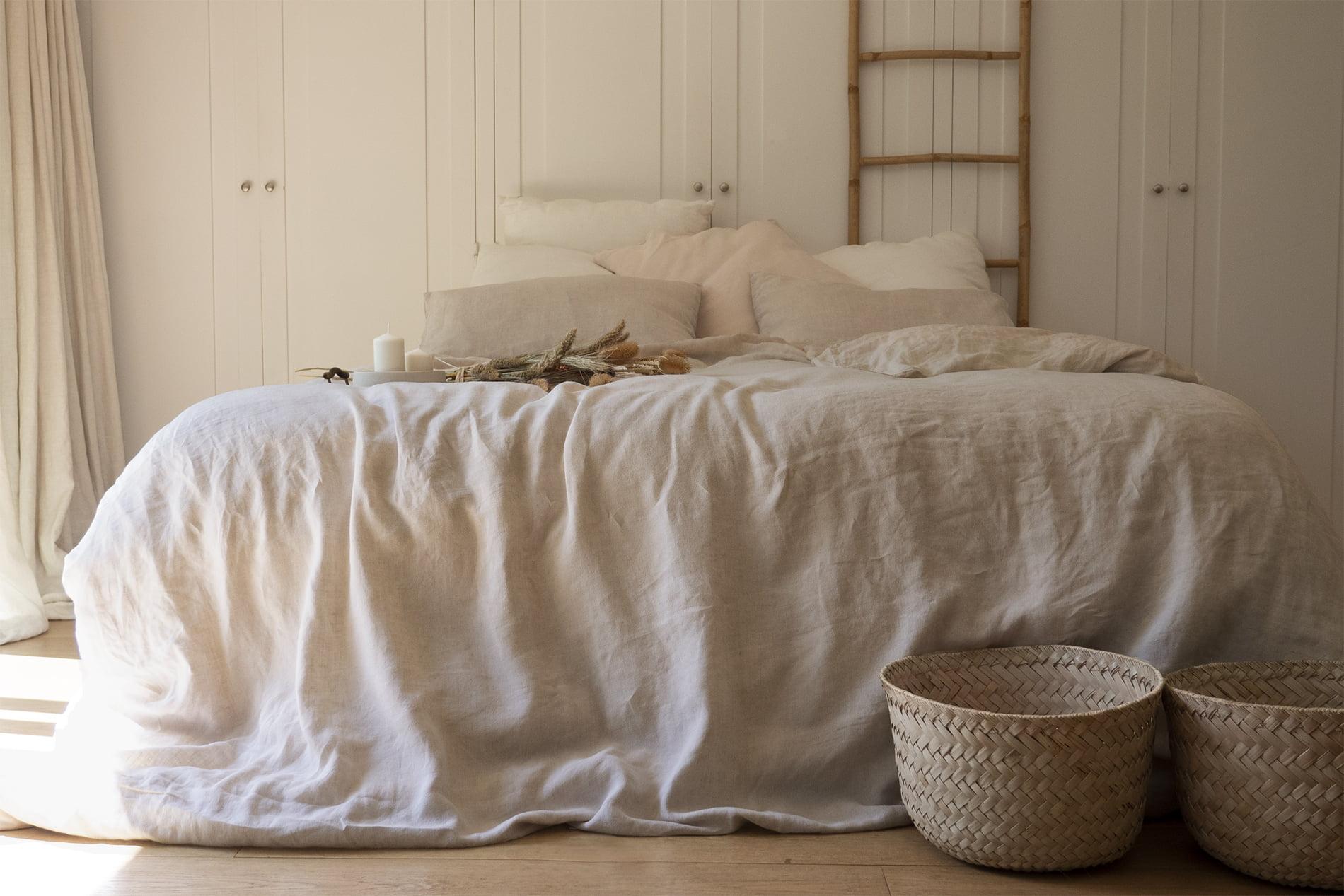 FICELLE - Parure de lit en lin lavé couleur naturelle 260x240 cm