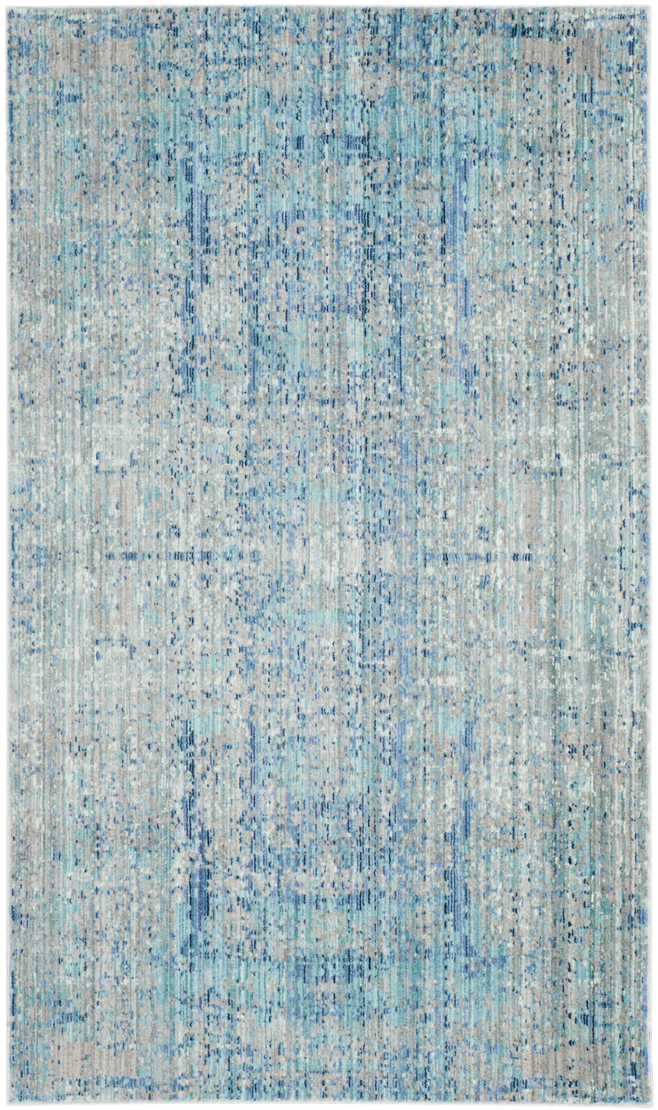 Tapis de salon moderne bleu clair et multicolore 90x150