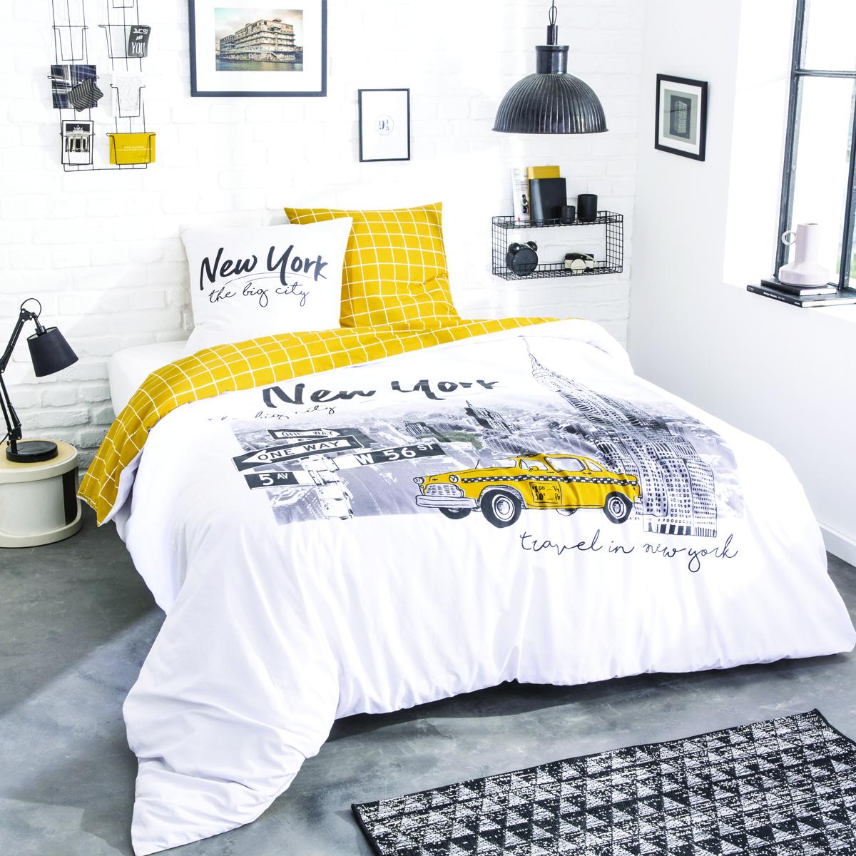 Parure de lit imprimée en coton jaune 140x200