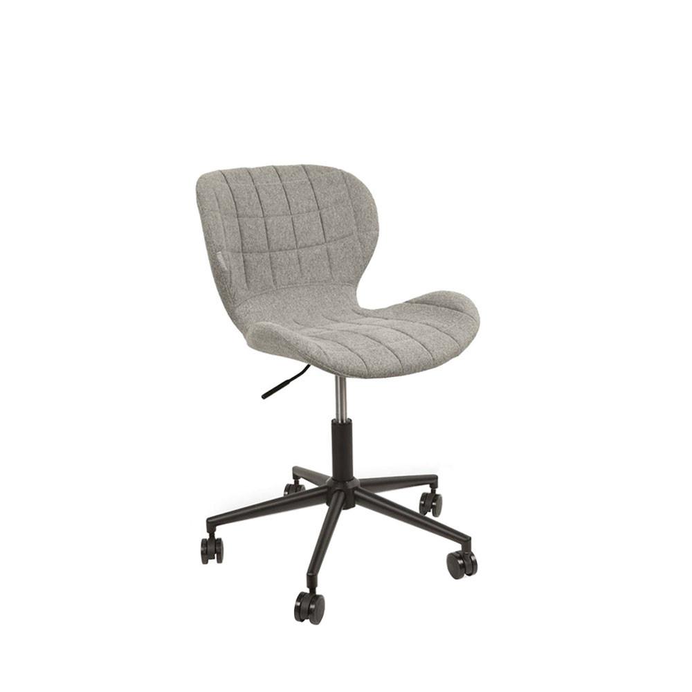 Chaise de bureau à roulettes en tissu gris