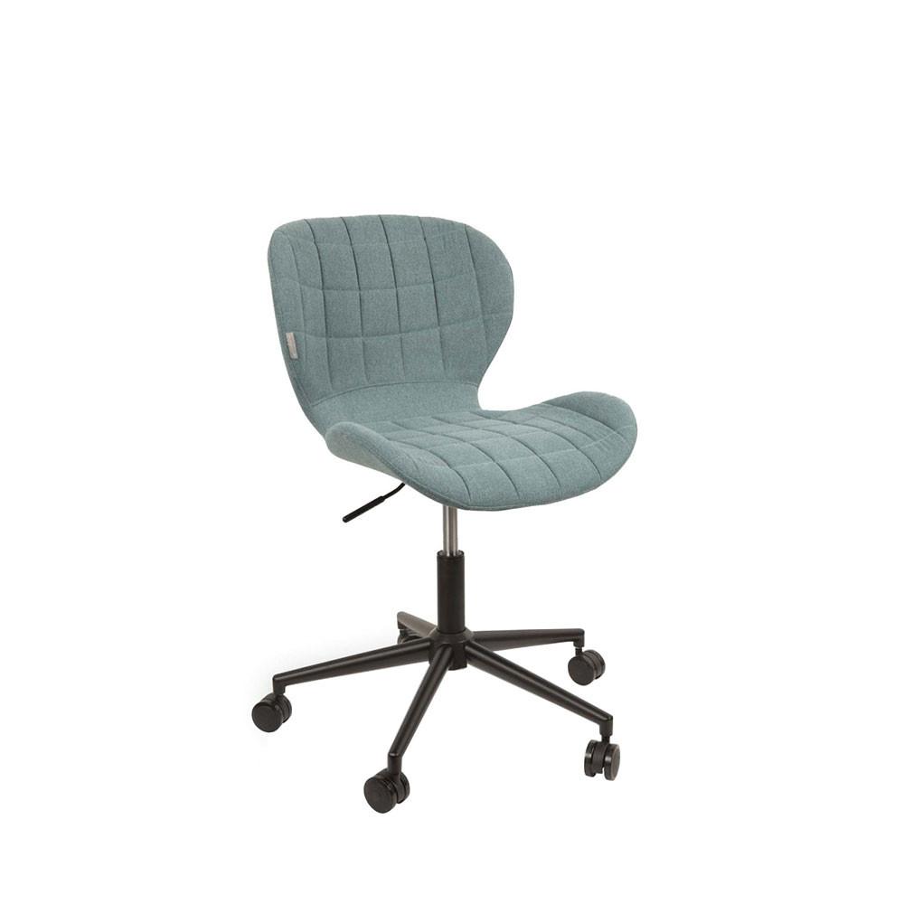 Chaise de bureau à roulettes en tissu bleu