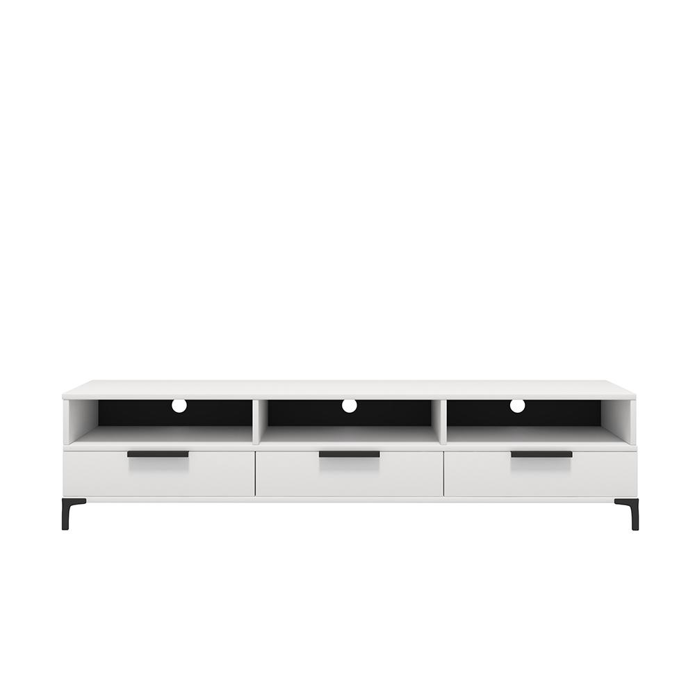 Meuble tv moderne 160 cm blanc mat blanc brillant