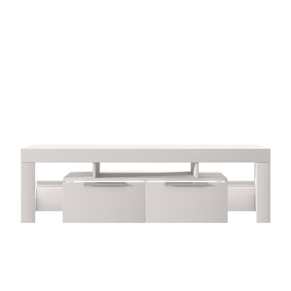 Meuble tv minimaliste 180 cm blanc mat  blanc brillant