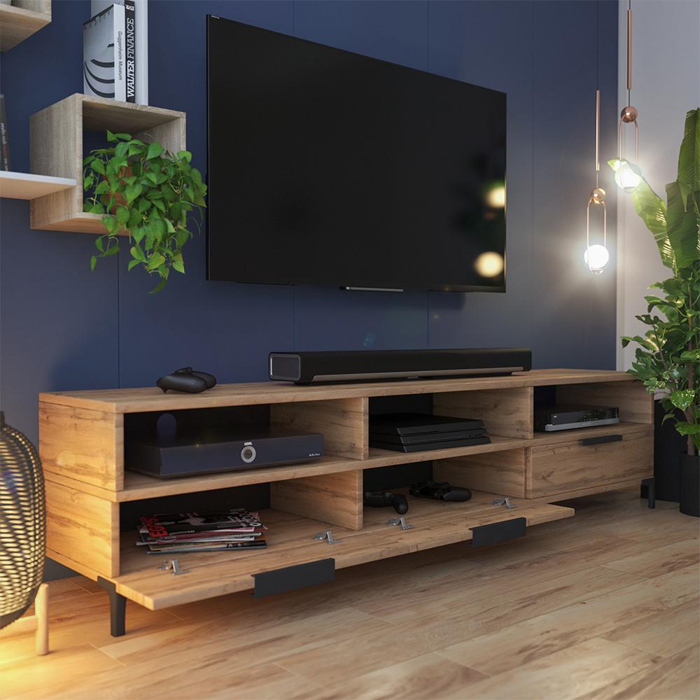 Meuble tv moderne 160 cm chêne wotan