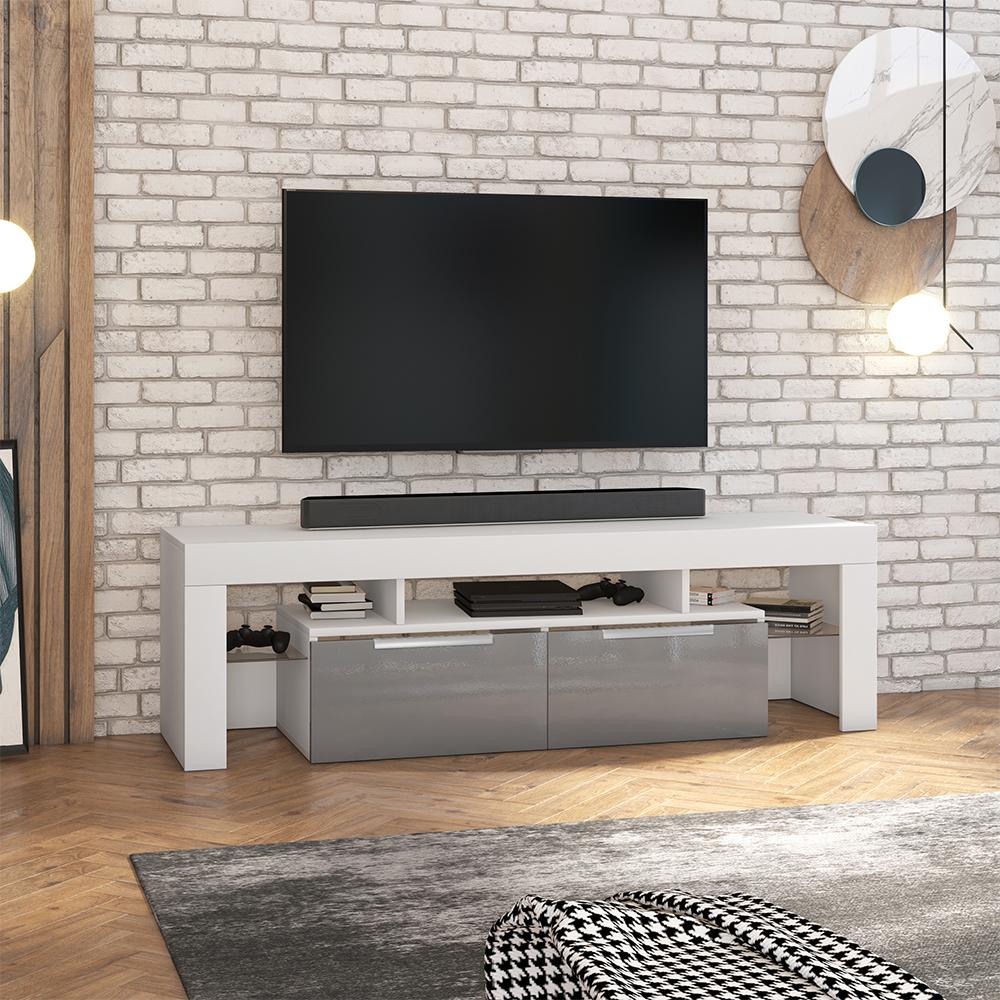 Meuble tv minimaliste 180 cm blanc mat  gris brillant