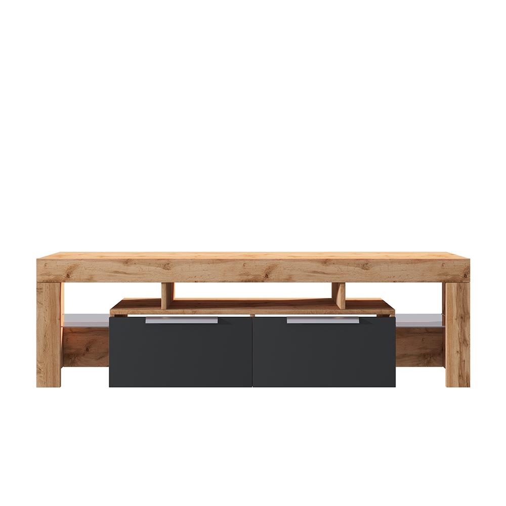 Meuble tv minimaliste 180 cm chêne lancaster noir brillant