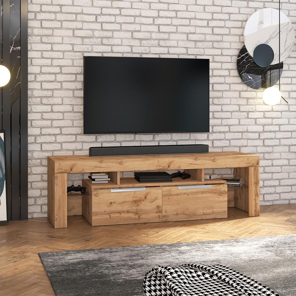 Meuble tv minimaliste 180 cm chêne lancaster
