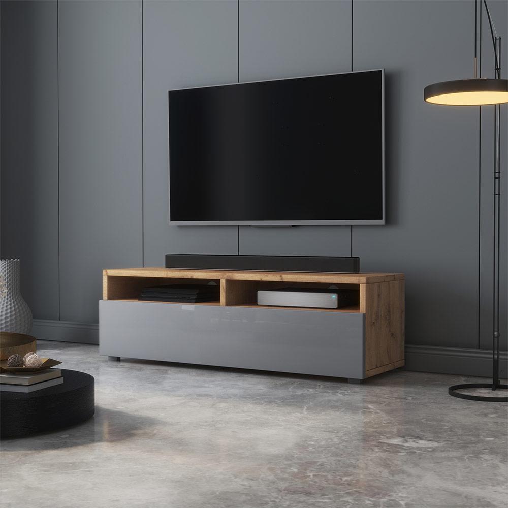 Meuble tv moderne 100  cm chêne wotan gris brillant