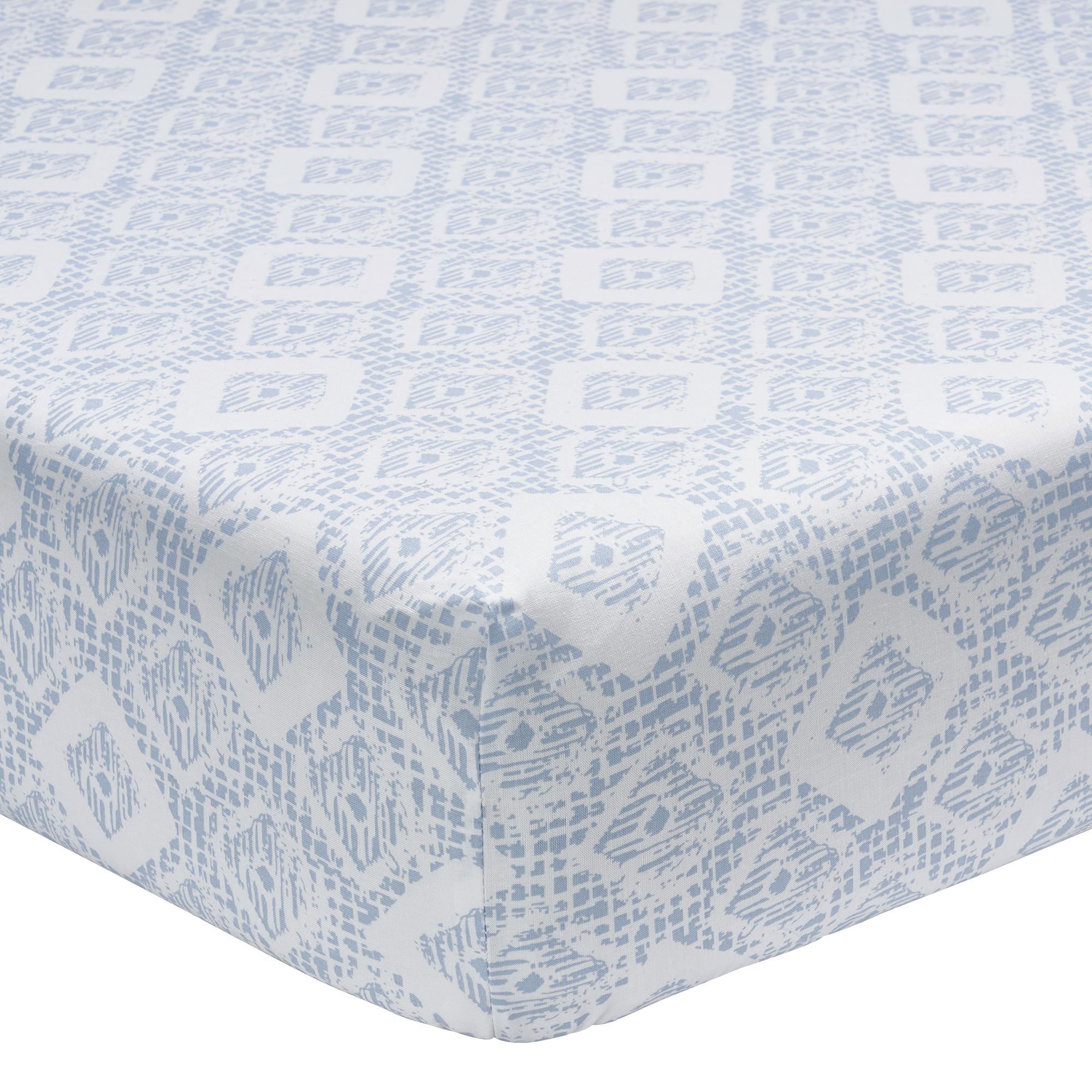 Drap housse imprimé en lyocell bleu 90x190