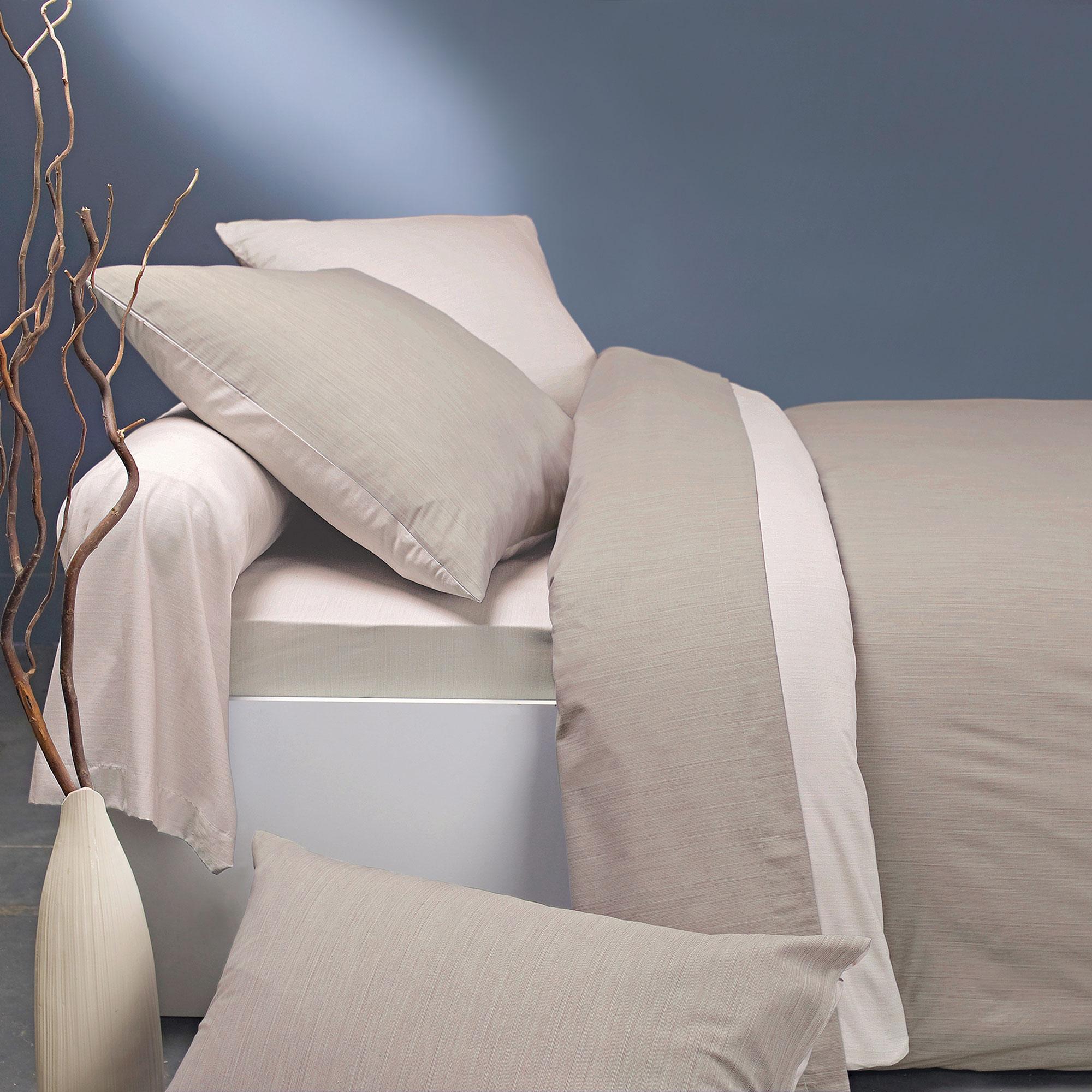 Parure bicolore en bambou lin/crème 200x200