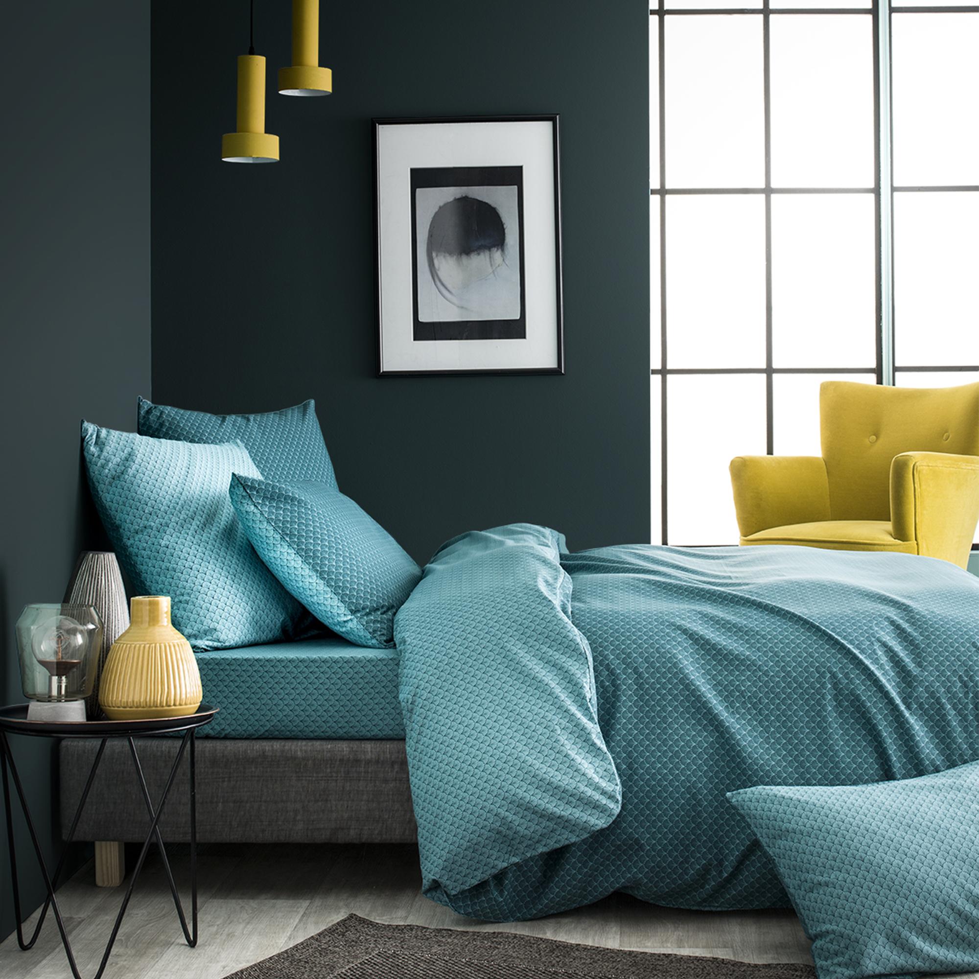 Parure de lit imprimée en bambou vert émeraude 220x240