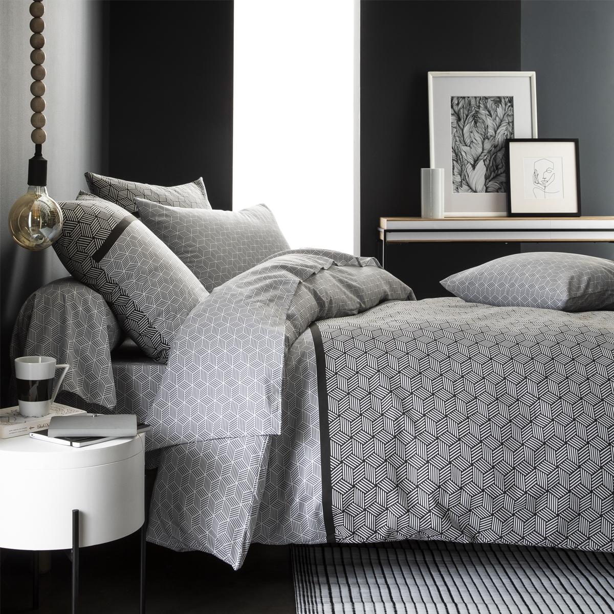 Parure de lit imprimée en bambou blanc et noir 240x220