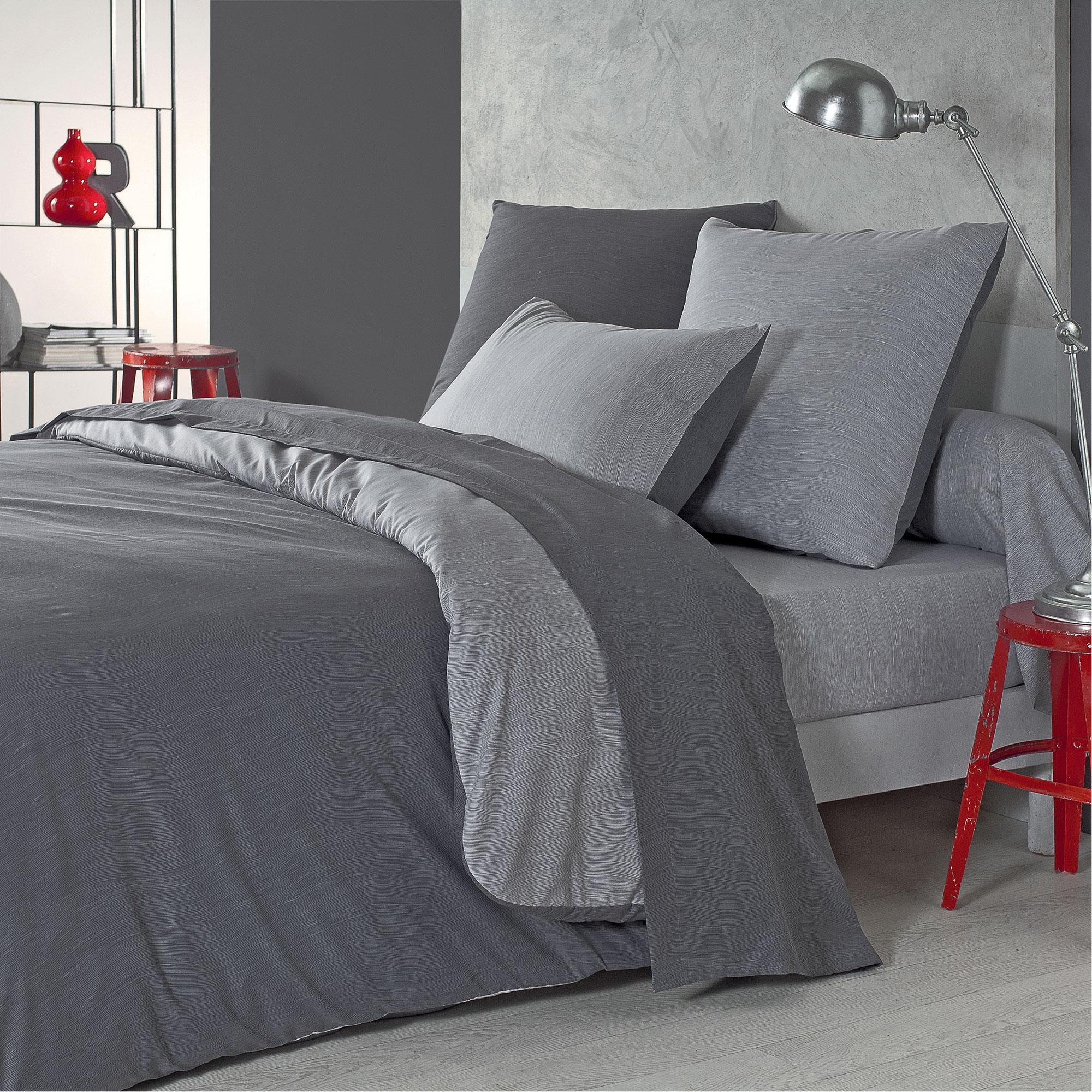 Parure de lit bicolore en polyester gris 140x200