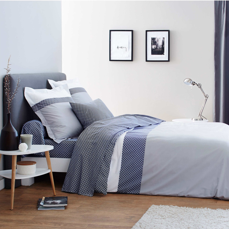 Parure de lit imprimée en bambou gris240x260