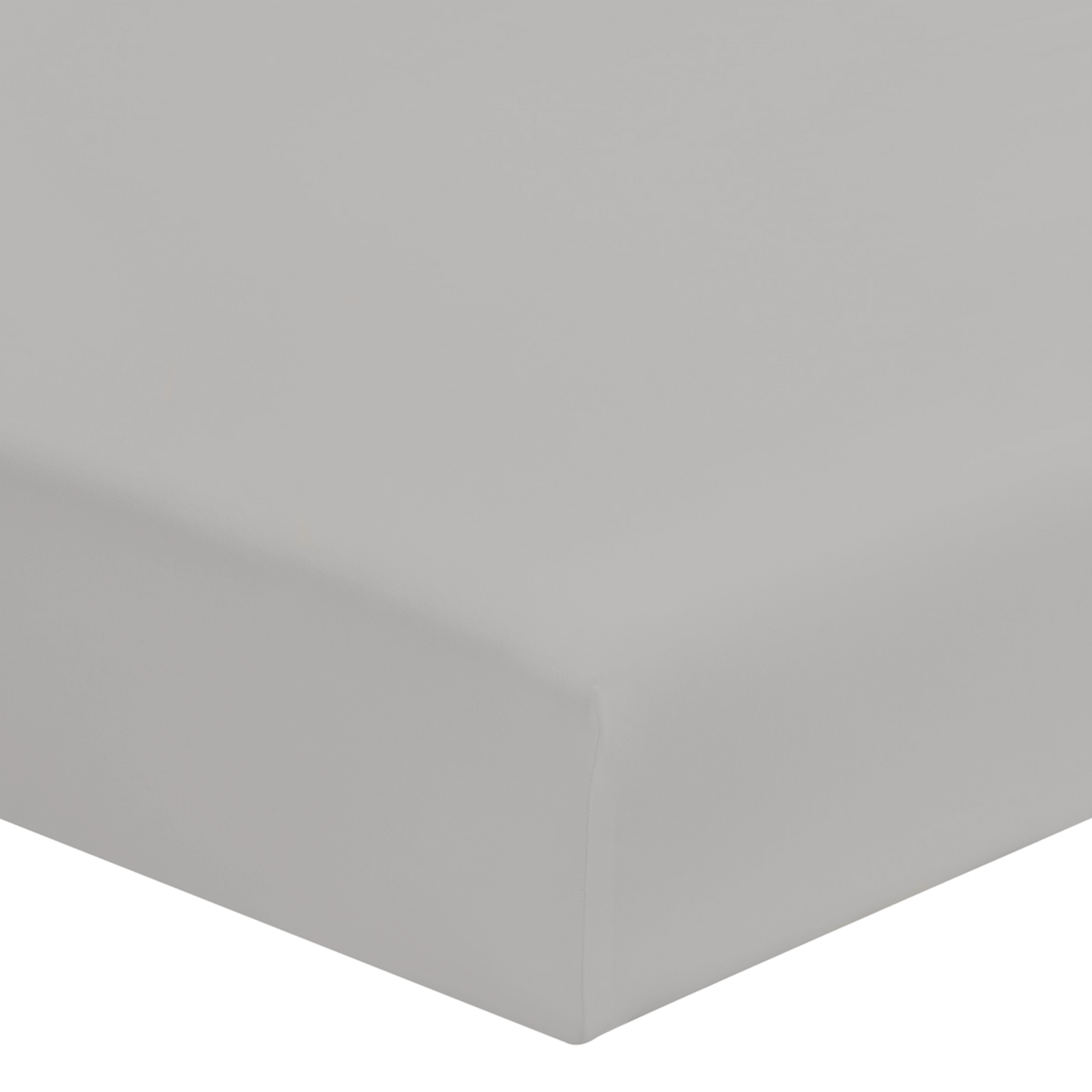 Drap housse uni en coton Gris Mastic 140x190