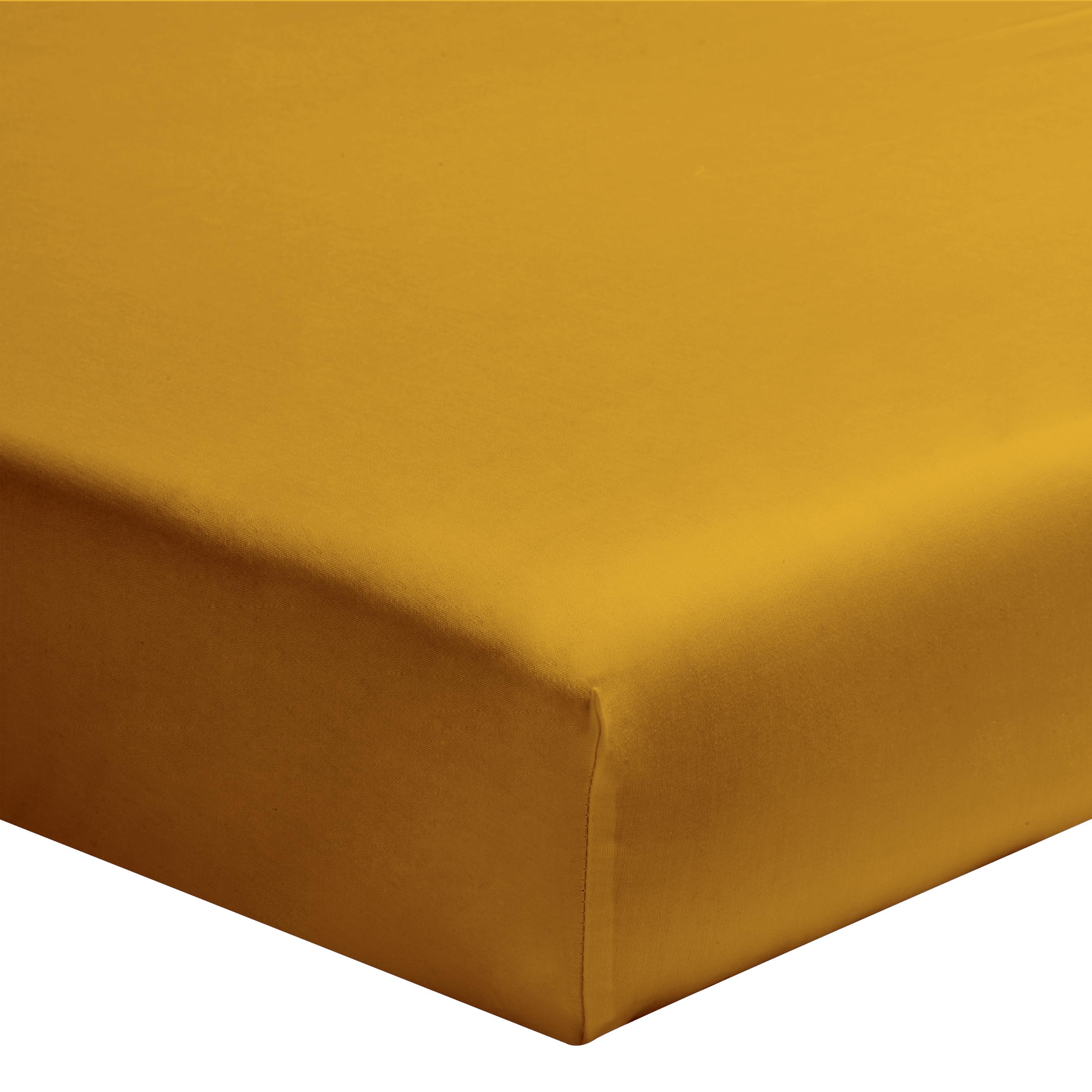Drap housse uni en coton jaune curry 140x190