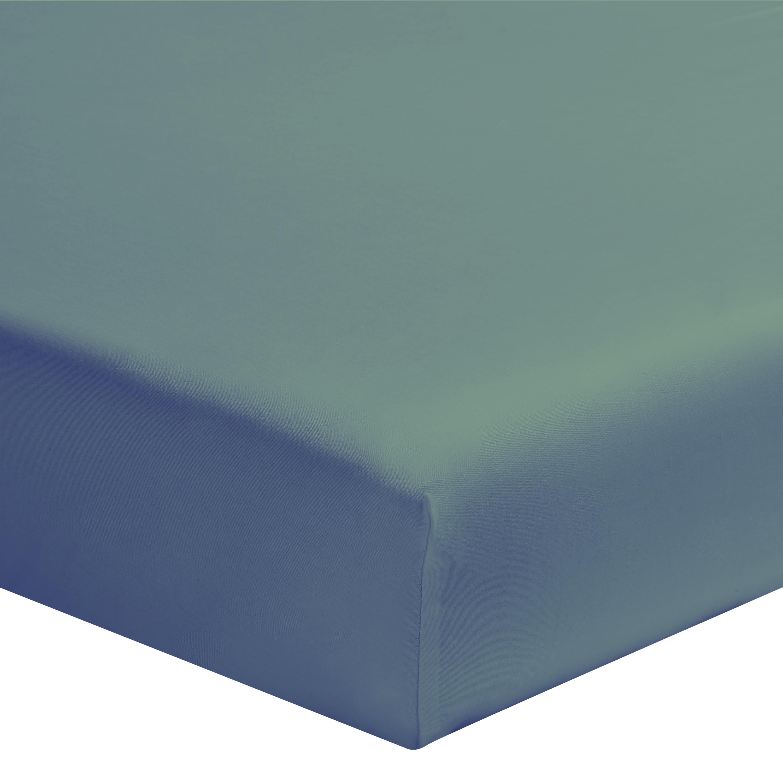 Drap housse uni en coton vert de gris 160x200