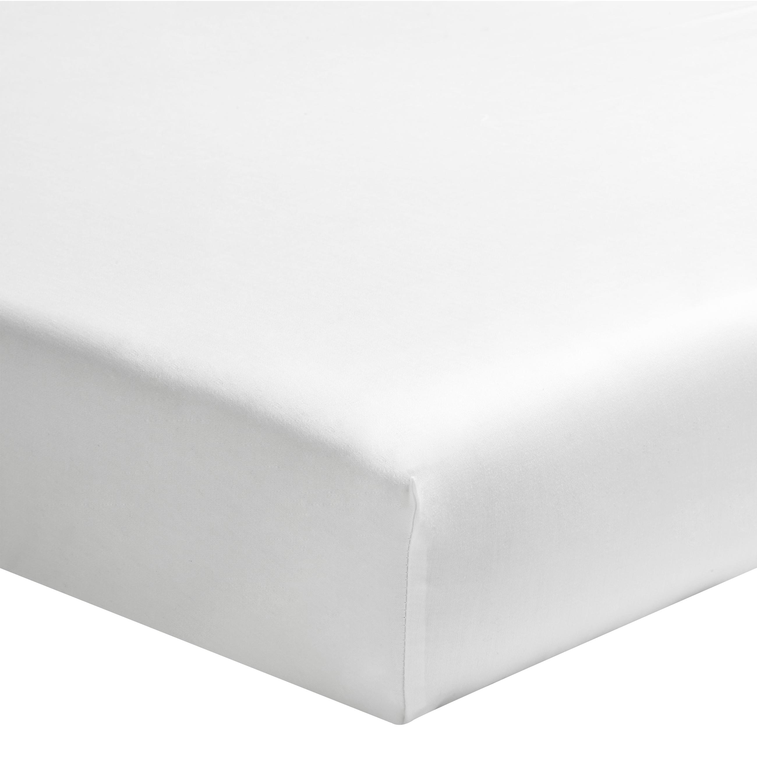 Drap housse uni en coton, Made in France blanc 80x200