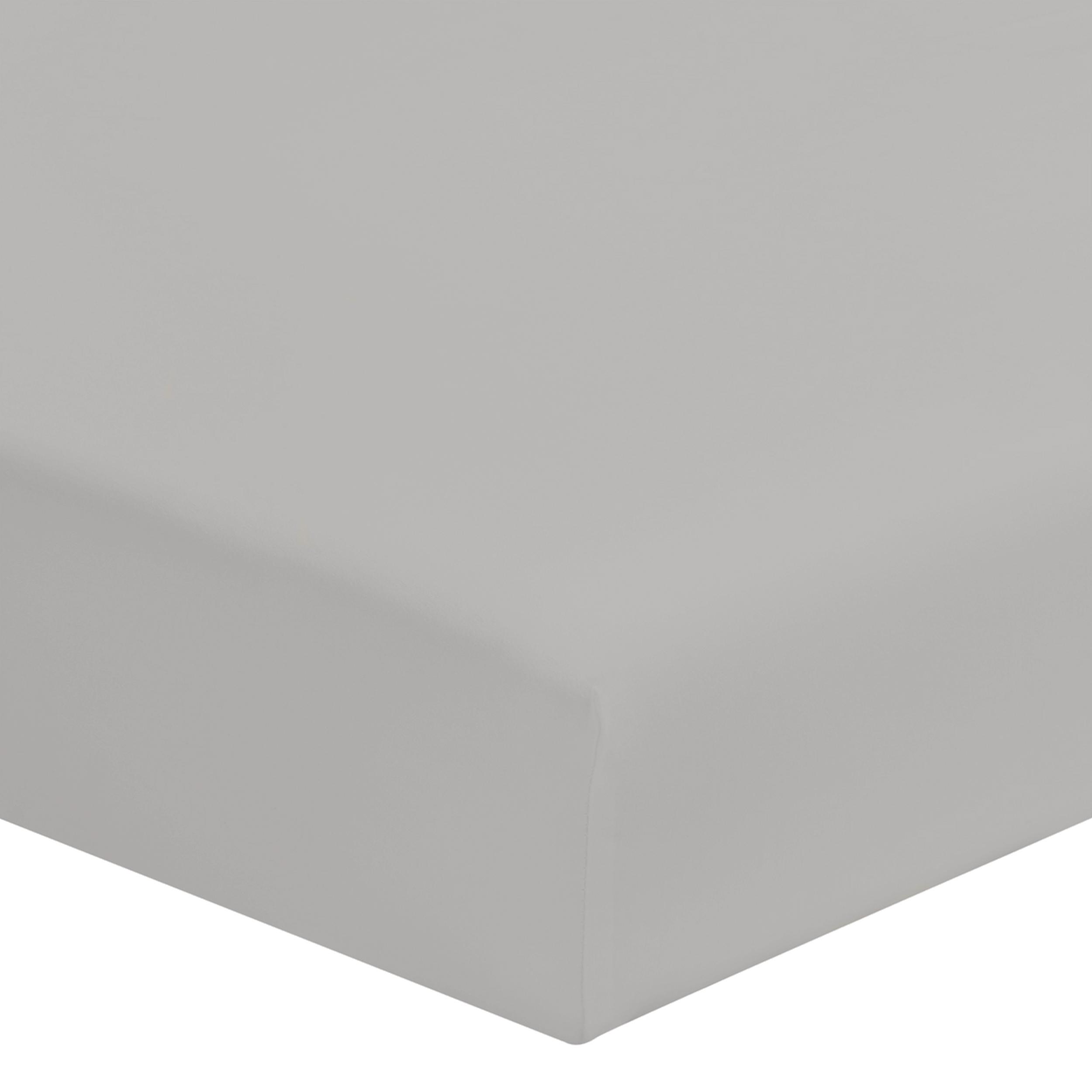 Drap housse uni en coton, gris 160x200