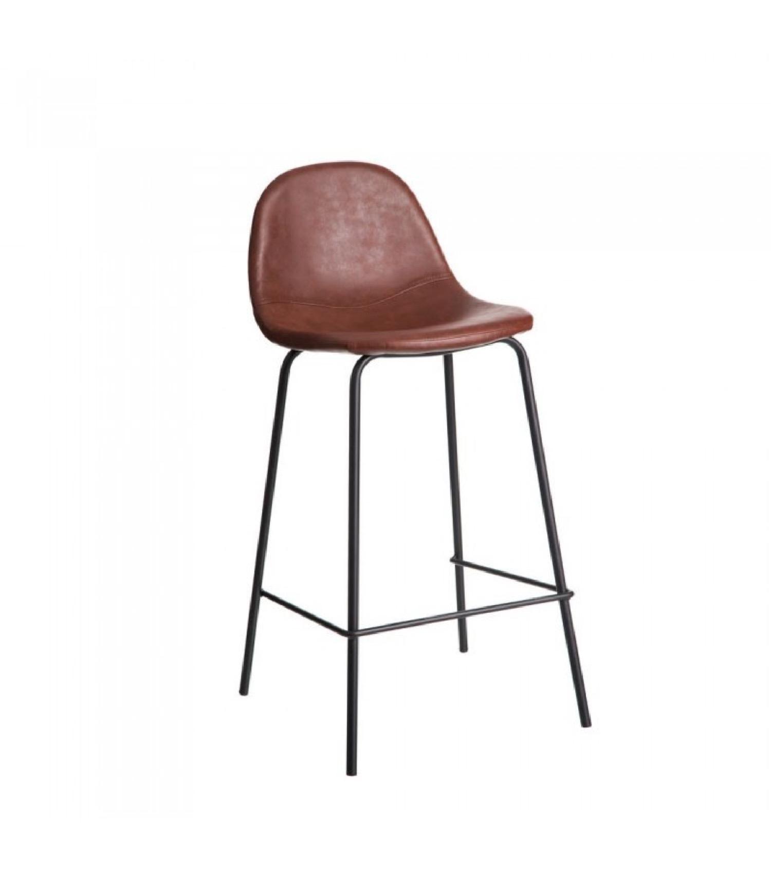 Tabouret de bar similicuir marron et métal noir H87cm
