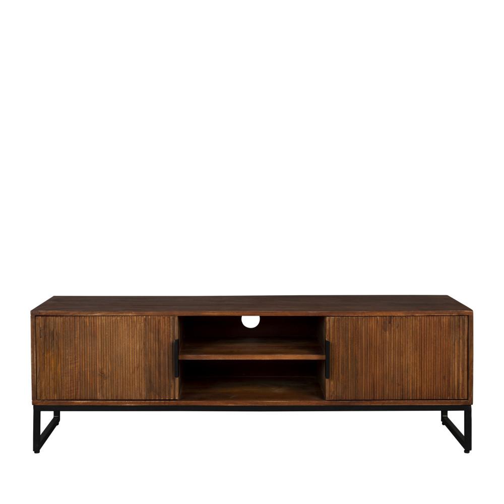 Meuble TV en bois et métal bois foncé  et  noir