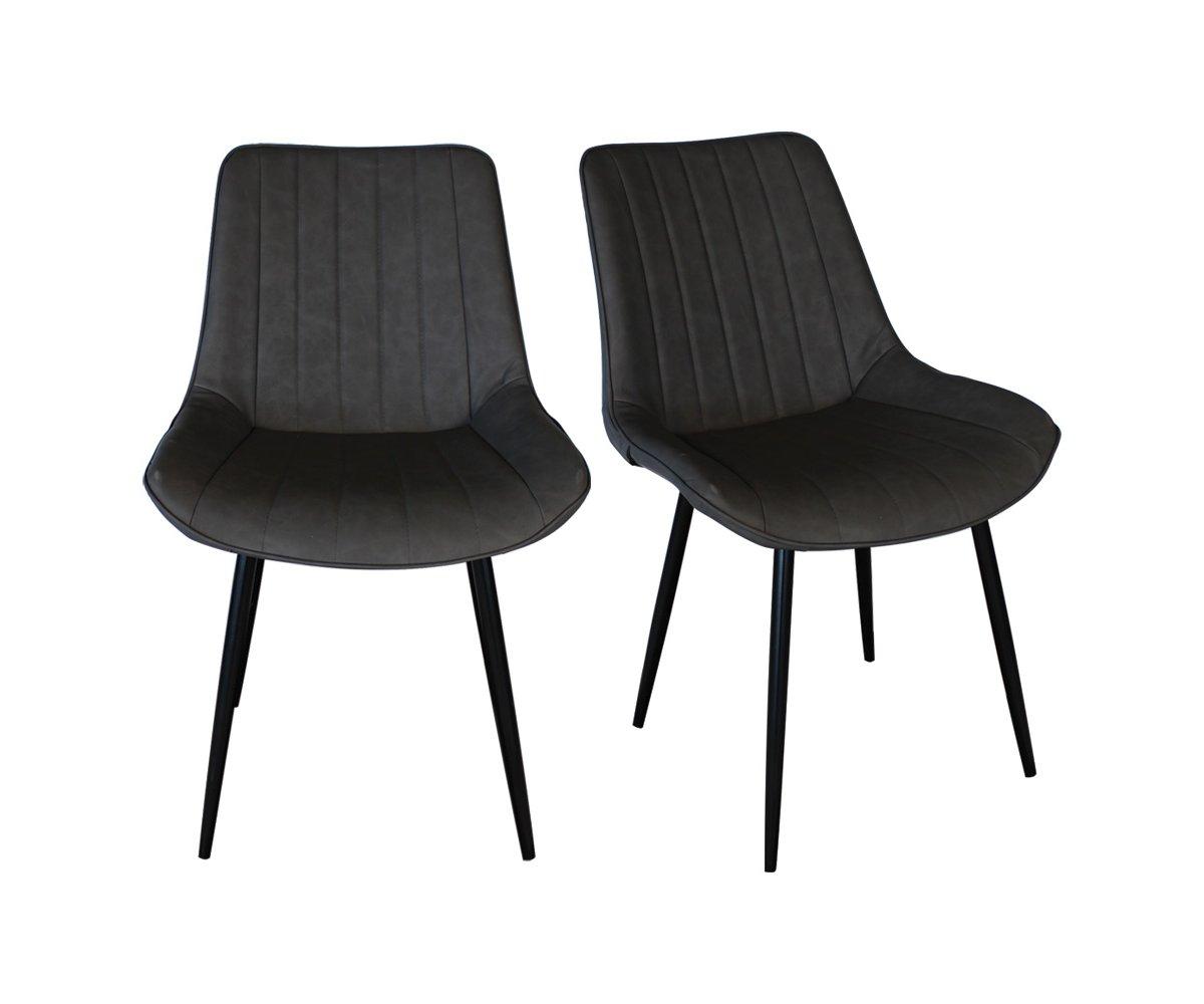 Lot de 2 chaises rembourrées style vintage Gris
