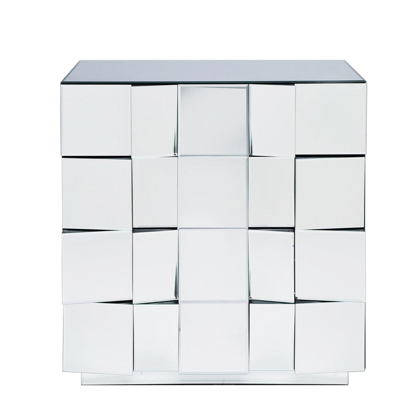 Commode 4 tiroirs en verre miroir