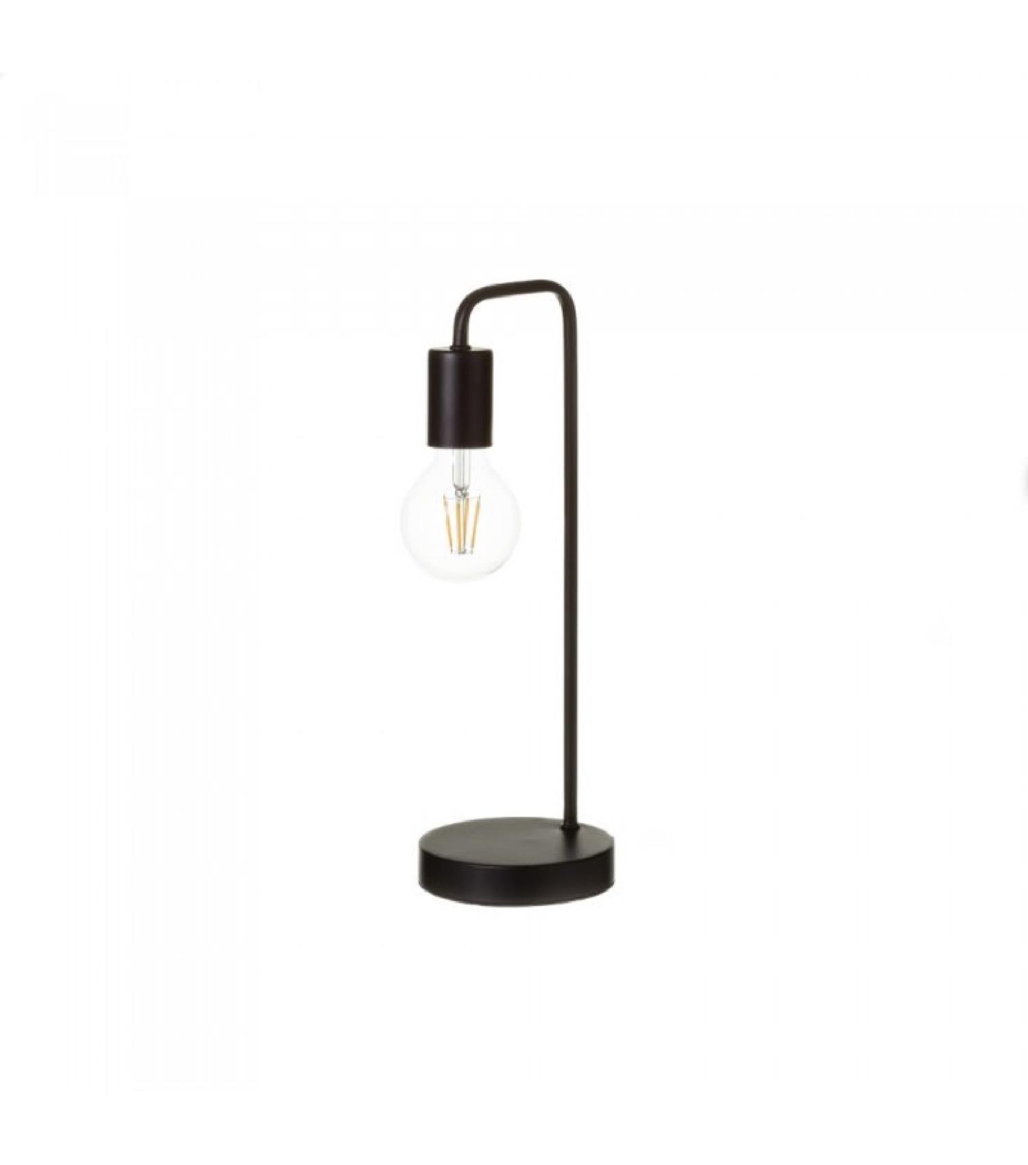 Lampe à poser courbée en bois et métal noir H41cm