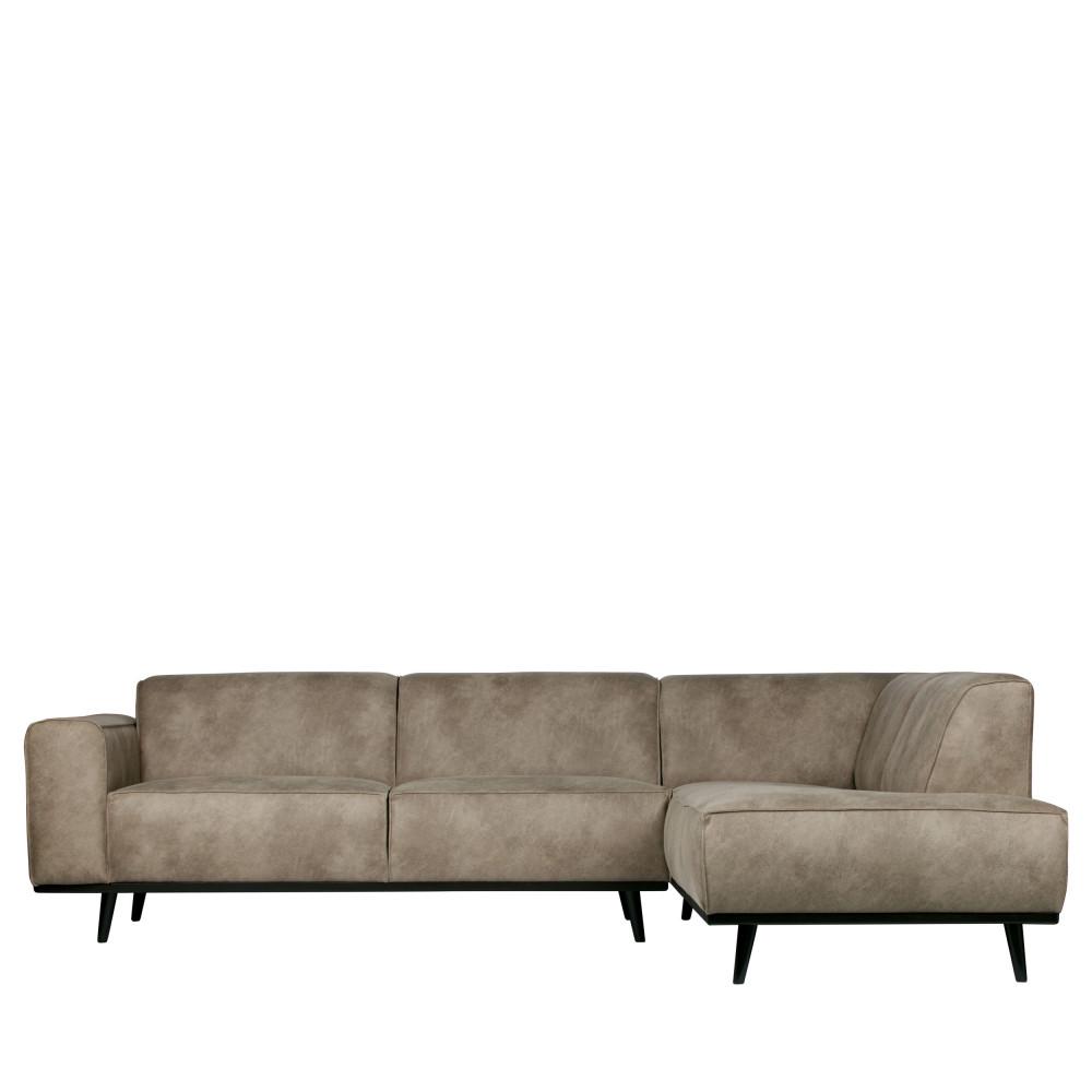 Canapé d'angle Gris Cuir Rétro Confort