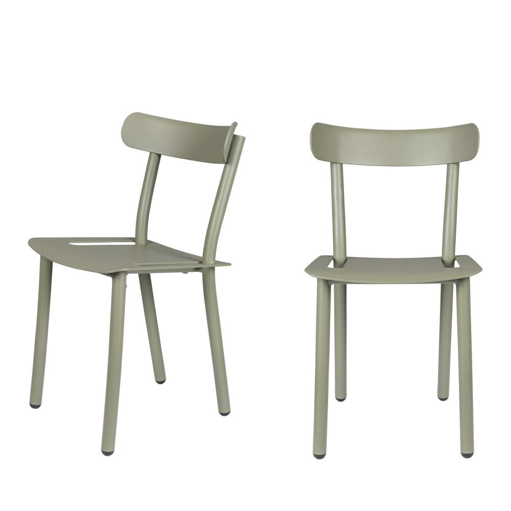 2 chaises de jardin vert olive