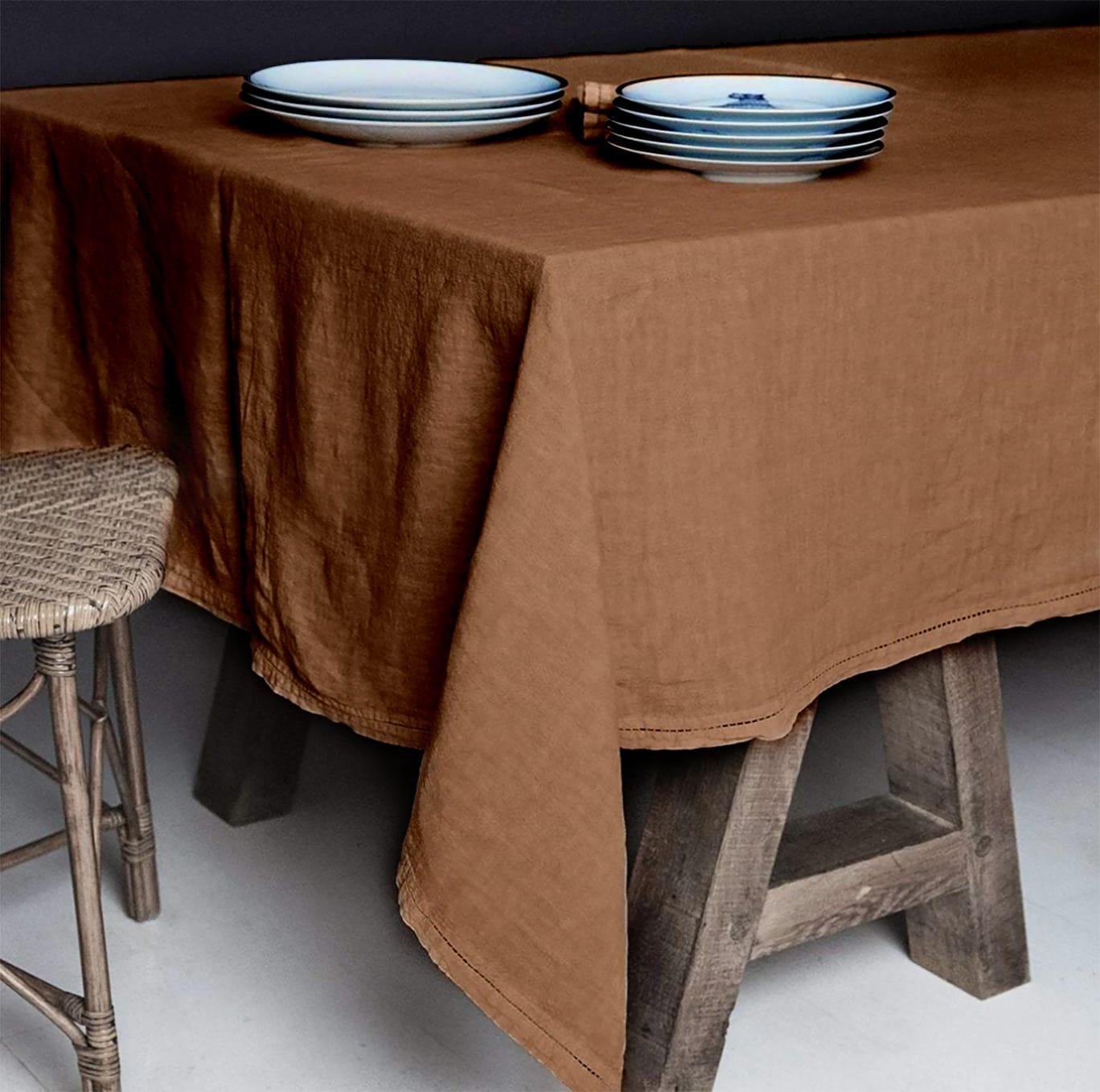 Nappe  Lin pur lavé Bronze 180x300