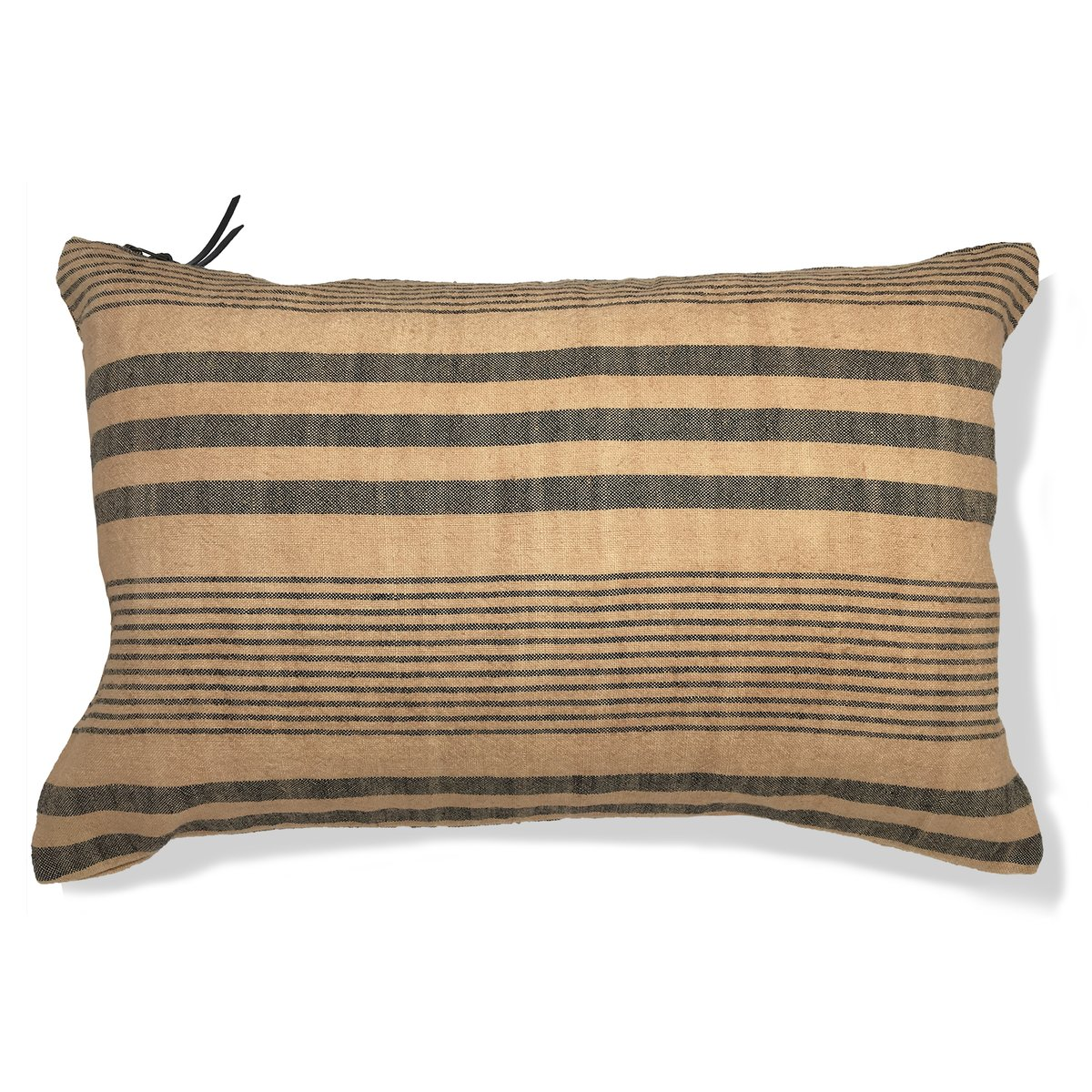 CALIFORNIA 1960  Coussin en lin pur lavé  Stripes chameau 30x50 (photo)