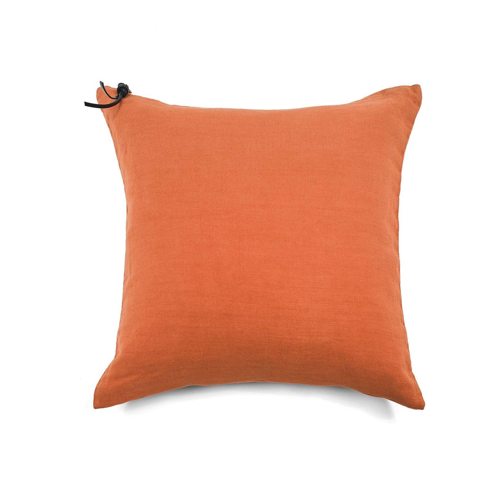 Coussin Lin pur lavé Orange  45x45