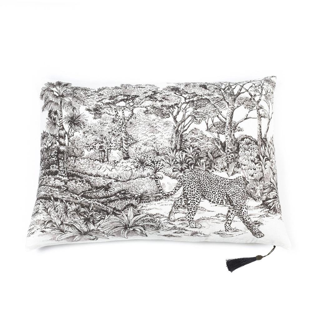 Coussin en lin pur lavé Toile de Jouy Léopard Blanc noir  50x70