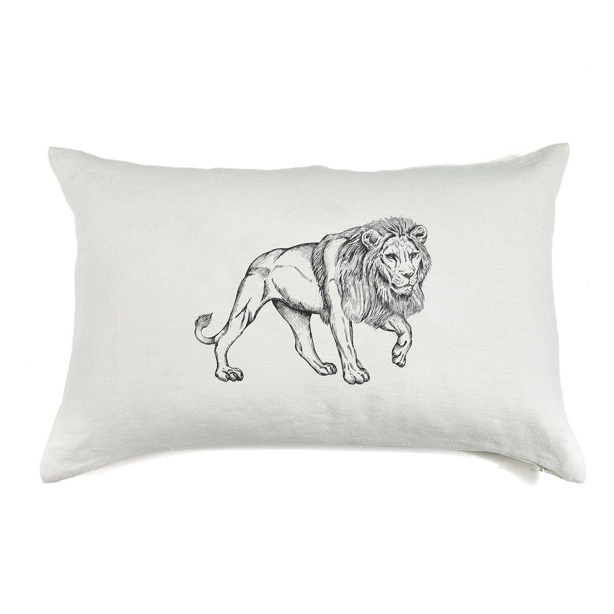 Coussin en lin pur lavé Lion 40x60