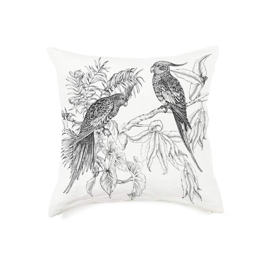 Coussin en lin pur lavé Elizabeth blanc noir 65x65