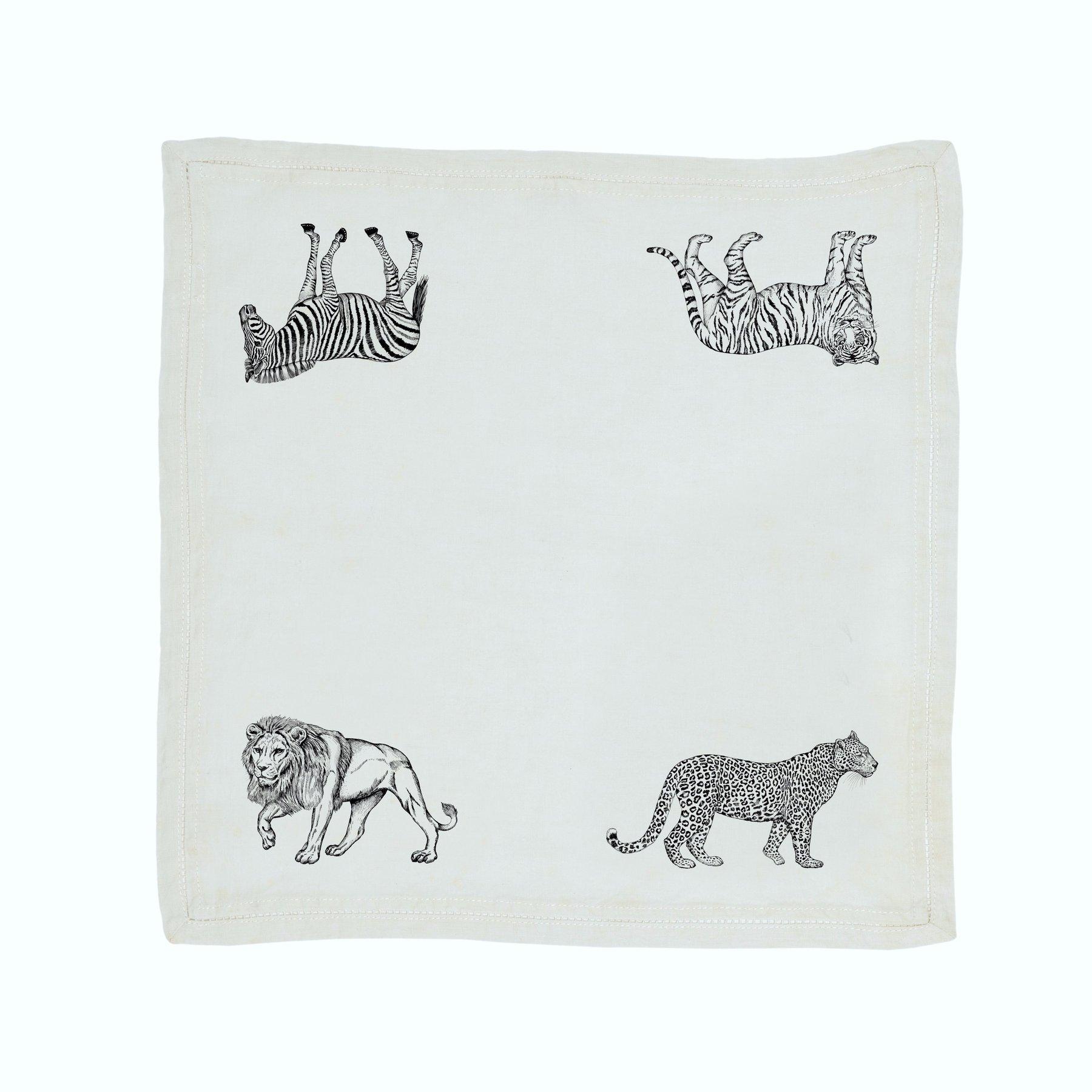 Serviette de table Lin pur lavé Serengeti Blanc Noir 45x45