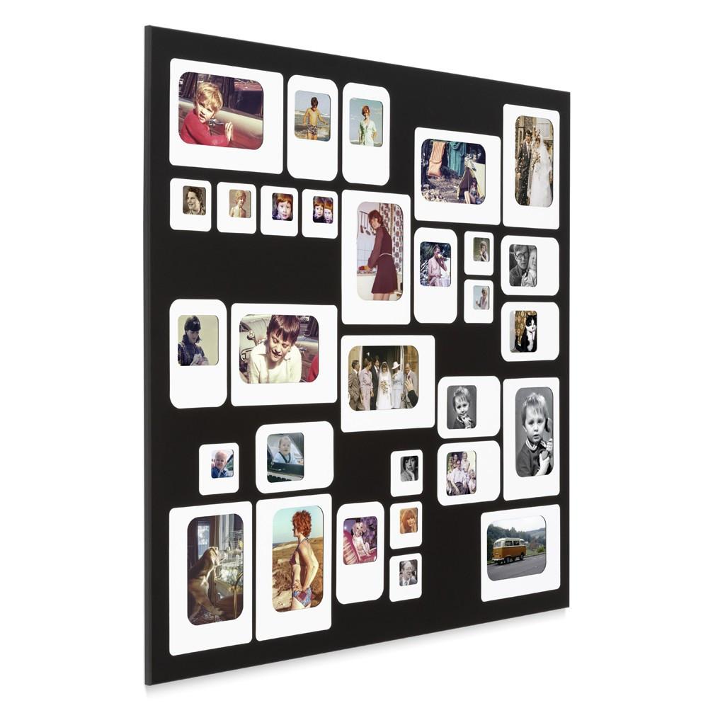 Cadre photo design pêle mêle noir 69x69cm