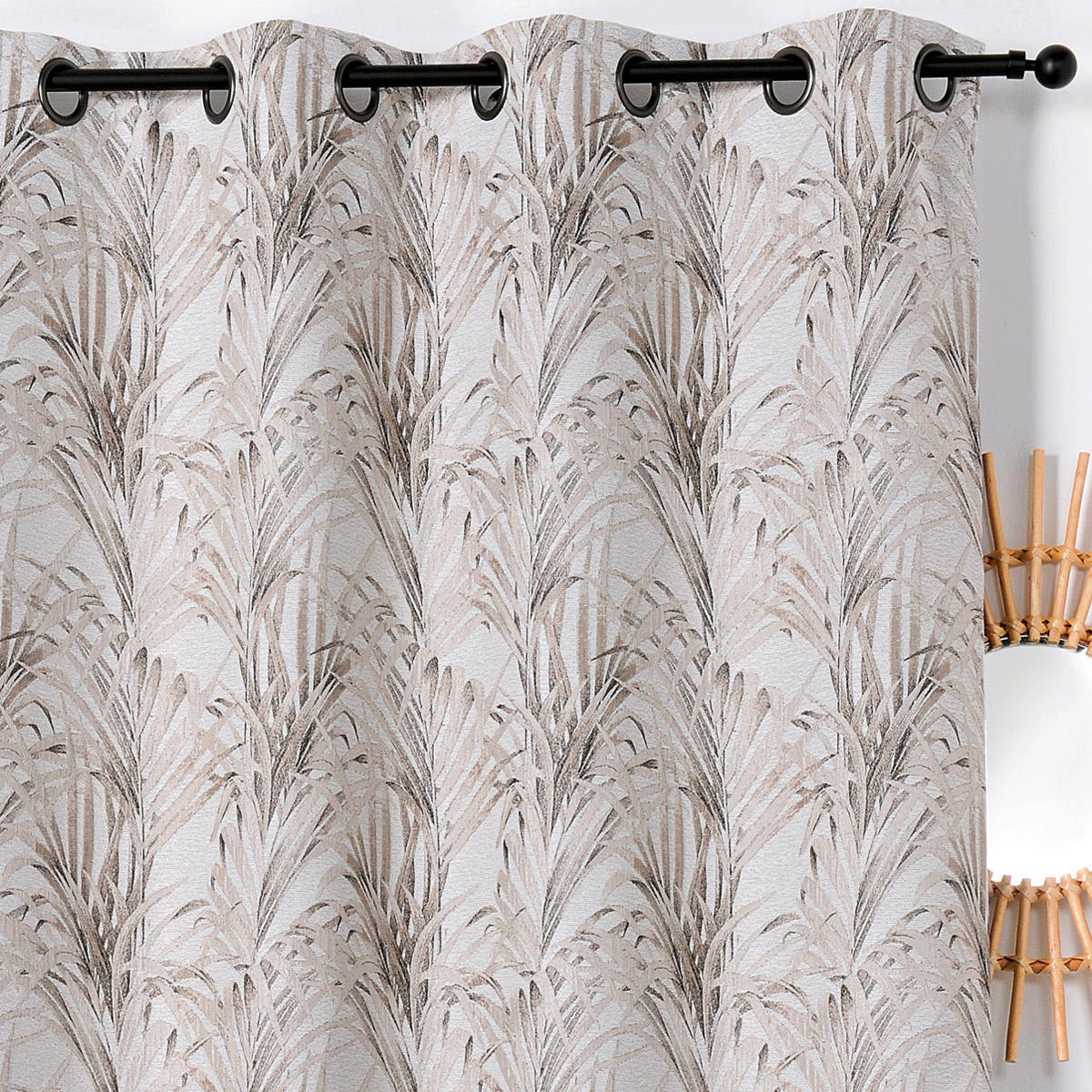 Rideau impressions exotiques polyester beige 250x135
