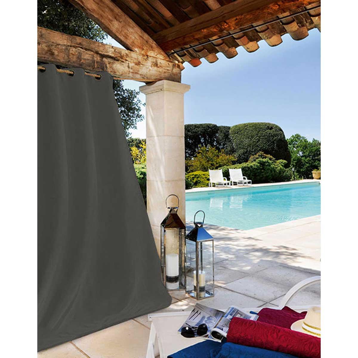 Rideau extérieur tissu outdoor toile gris foncé 240x135