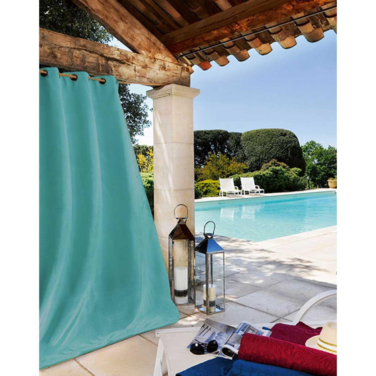 Rideau extérieur tissu outdoor toile bleu ciel 240x135