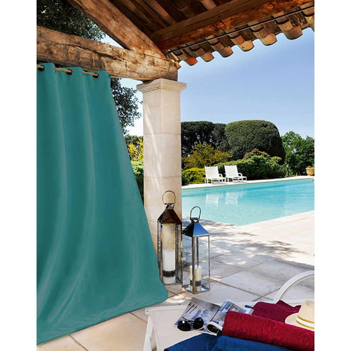 Rideau extérieur tissu outdoor toile bleu canard 240x135