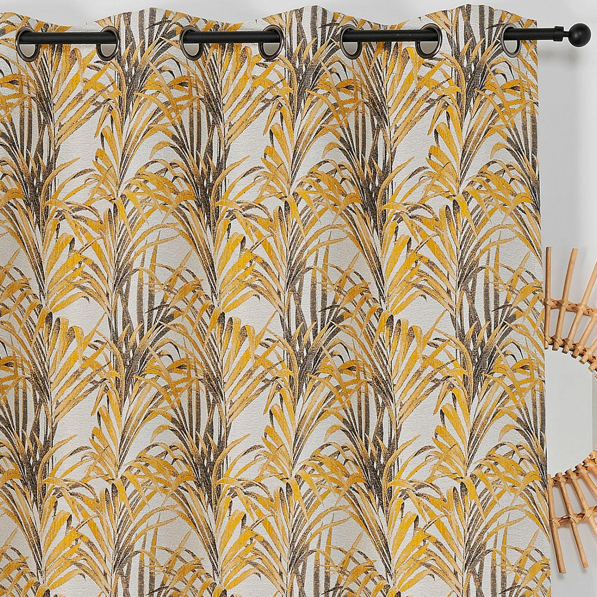 Rideau impressions exotiques polyester jaune 250x135