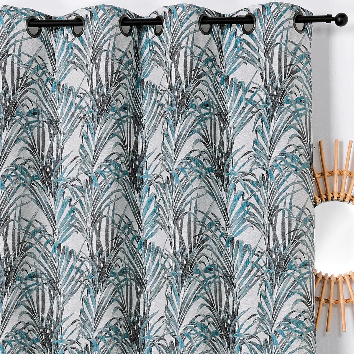 Rideau impressions exotiques polyester bleu 250x135