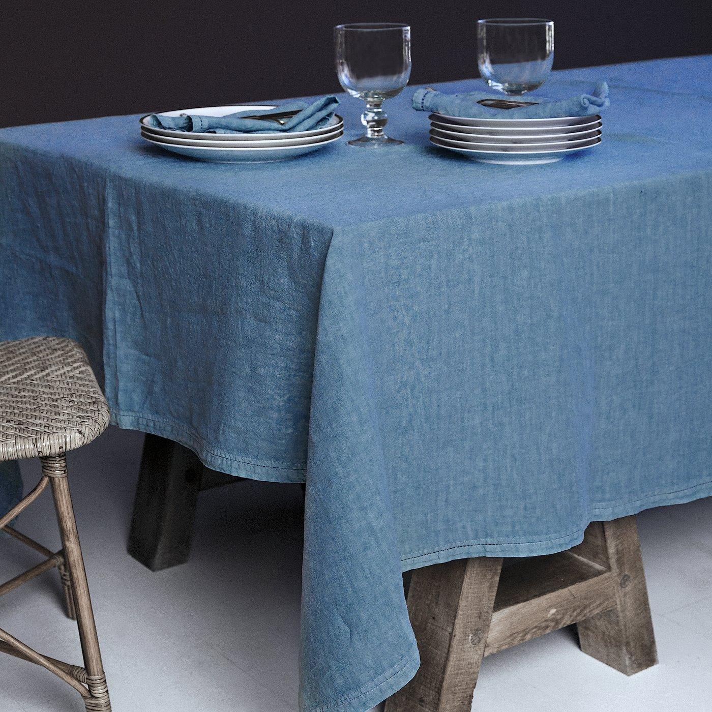 Nappe  Lin pur lavé  Turquoise 180x300