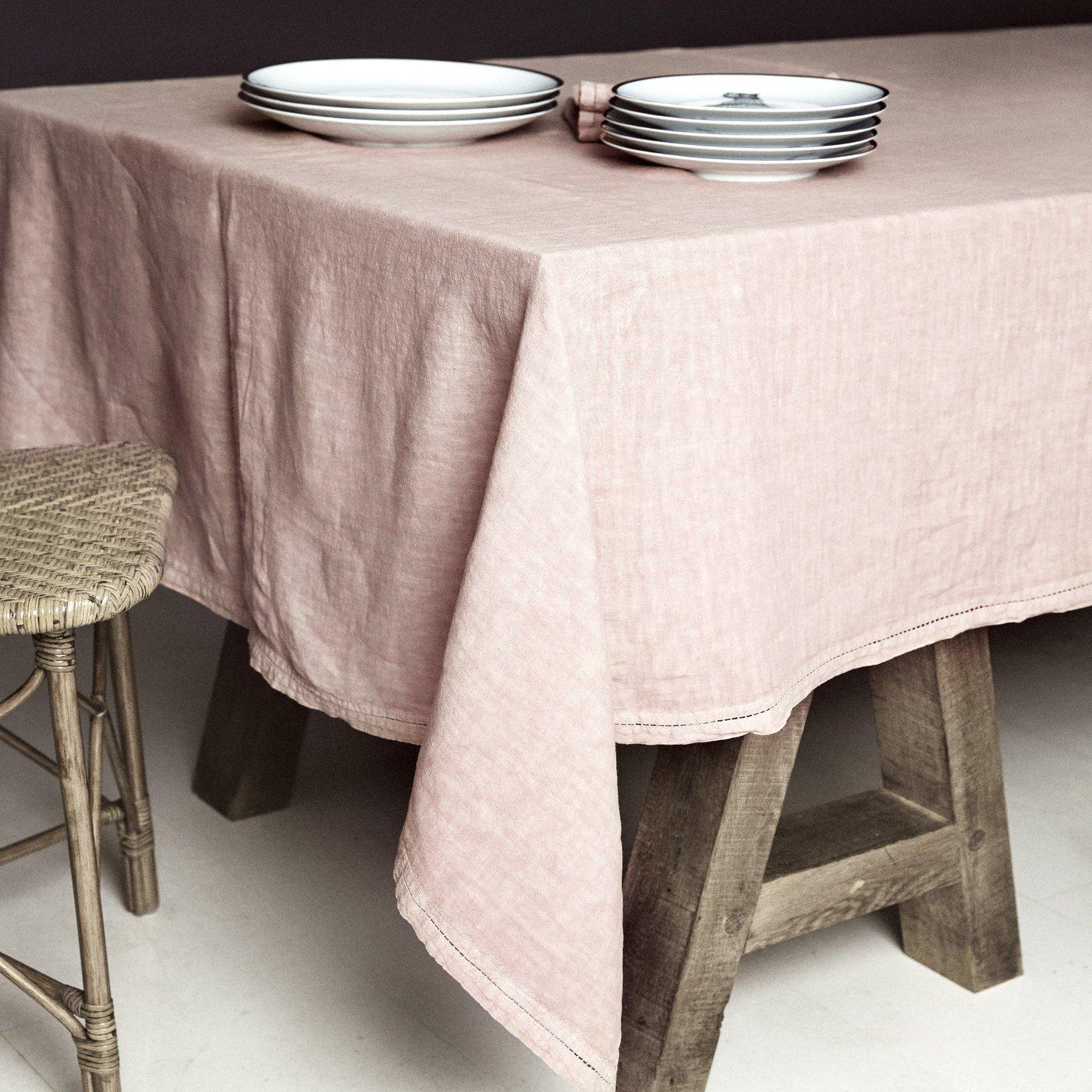 Nappe  Lin pur lavé Rose Pâle 180x300