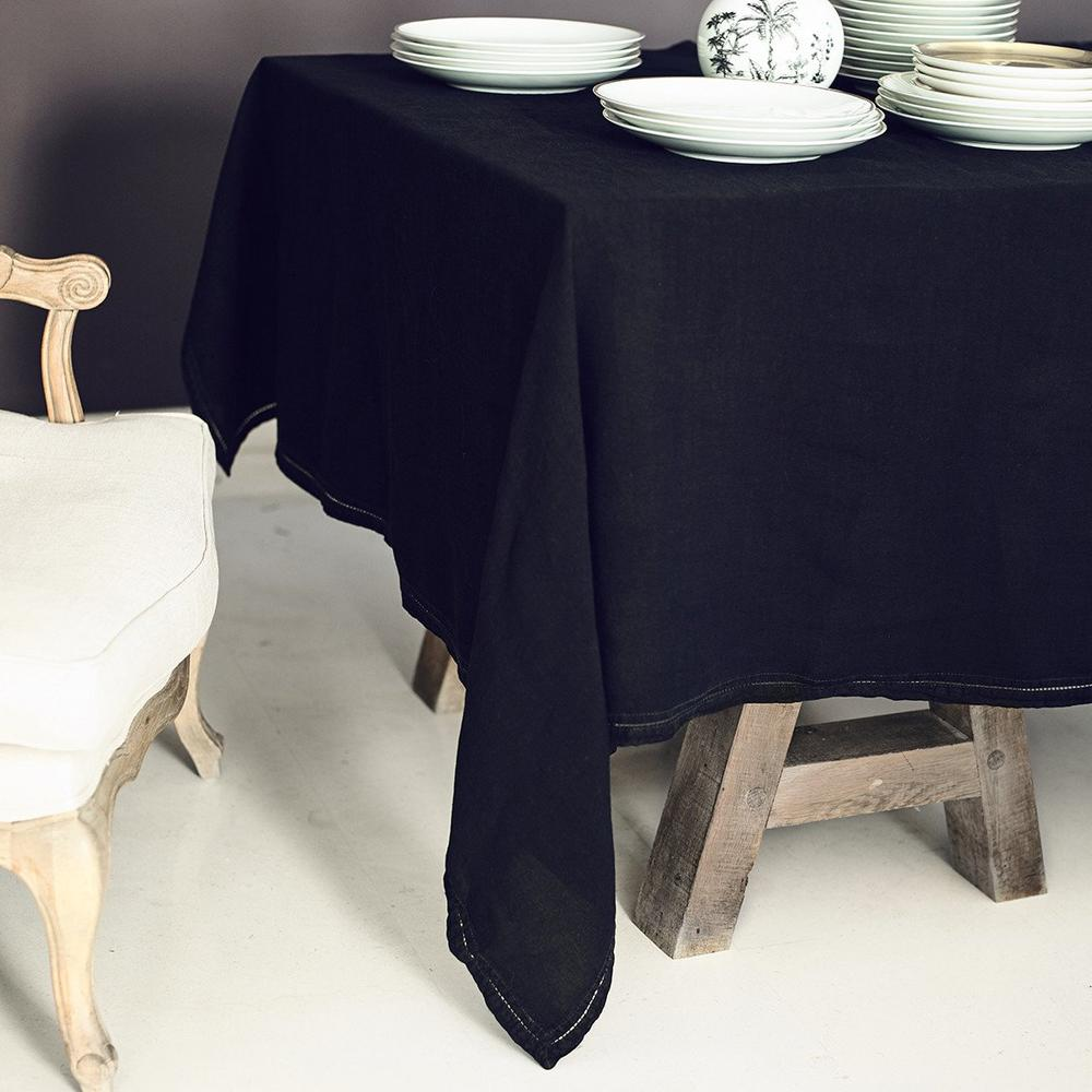 Nappe  Lin pur lavé Noir 160x250